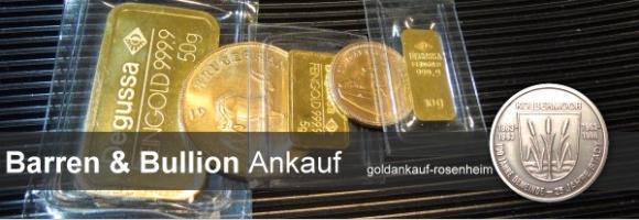 Wir kaufen gegen sofortige Barauszahlung: Goldbarren, Bullionmünzen, Anlagegold, Schmuckbarren, Comibars, Tafelbarren © goldankauf-rosenheim.de