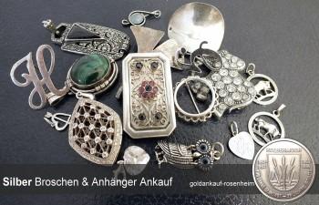 Ankauf von Silberanhängern, Broschen, Anstecknadeln aus 835er und 925 Silber