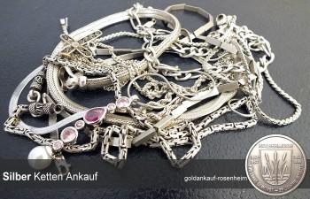 Silberkettenankauf Rosenheim: Panzerketten, Gliederketten, Königsketten, gerne auch defekt.