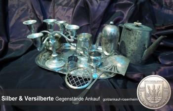 Ankauf von Silbergegenständen: Tafelsilber, Kandelaver, Kerzenständer, Hotelsilber, Pokalen, Bilderrahmen,...