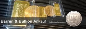 Goldbarren & Bullionmünzen Ankauf - Goldbarren verkaufen © goldankauf-rosenheim.de