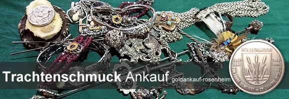 Wir kaufen Ihren Trachtenschmuck und Jagdschmuck: Trachtenringen, Kropfketten, Halsketten, Schmuck mit Grandeln, Trachtenuhren © goldankauf-rosenheim.de